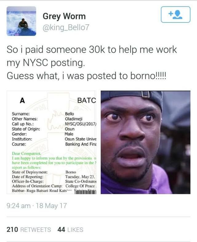 Twitter User Gets Posted Borno State