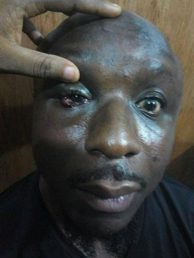 military man beats civilian man