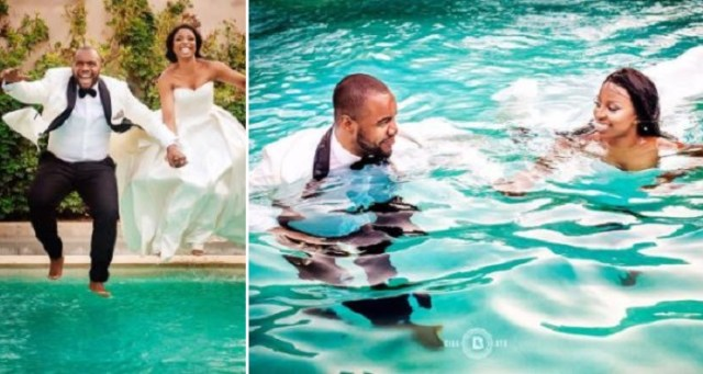 Checkout These Unique Photos Of A Couple Who Jumped Into Swimming Pool In Their Wedding Attires After Their Wedding.