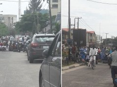 Muslims block road