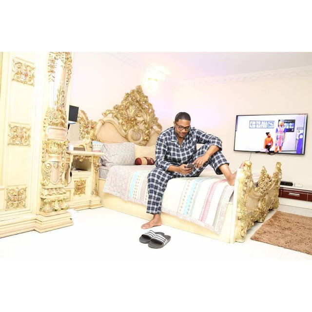 5 Star Music CEO, E-Money Shows Off His Exotic Bedroom As He Prays Before He Sleeps