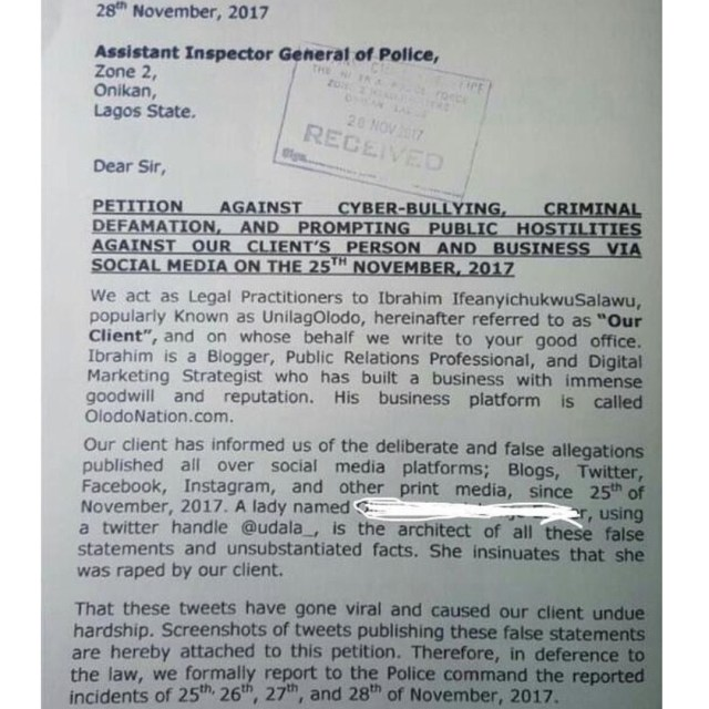 24127001 131554034200473 3935927705299582976 n 1 - Rape and Beg allegation: Blogger Unilagolodo petitions Lagos State police
