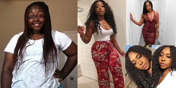 """Image result for A Young lady, Aiyo Michelle, from Houston, Texas is fast becoming an internet sensation after photos of her """"before and After"""" transformation went Viral."""