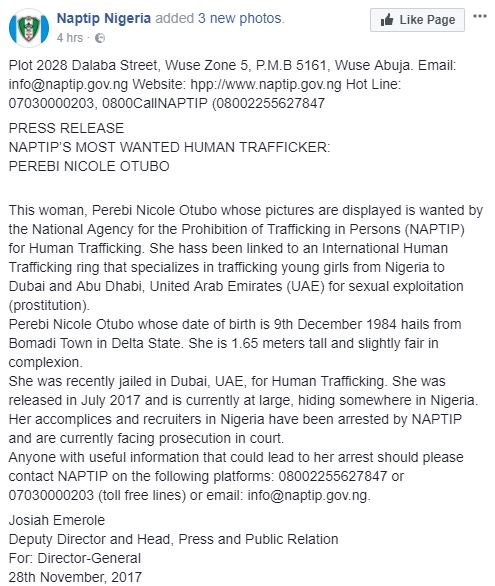 NAPTIP 1 - Nigerian woman from Delta, Perebi Nicole Otubo declared wanted for human trafficking