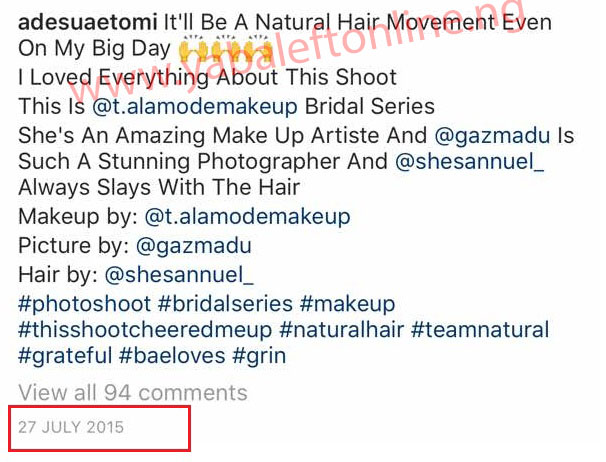 Sus Big - Fans dig up 2015 posts where Adesua Etomi said she'd go natural on her wedding day, but she didn't (photos)