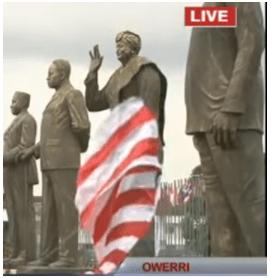 Governor Rochas Okorocha Unveils Liberian President's Stature