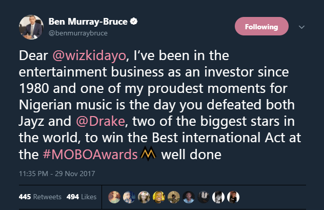 Ben Murray Bruce Reacts Wizkid's MOBO Award International Win
