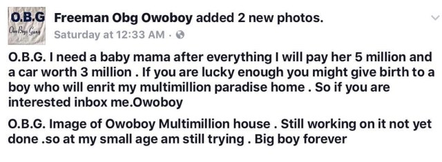 25012482 154127218557142 3245329992401289216 n - Nigerian big boy ready to give 5 million and a 3m car to any lady willing to become his baby mama