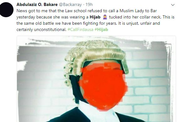 Firdaus1 - Nigerians Debate Over Nigerian Law School's Refusal To Call Muslim Lady To Bar Because She Had Her Hijab Tucked Into Her Collarette.