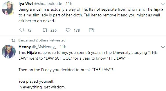 Firdaus5 - Nigerians Debate Over Nigerian Law School's Refusal To Call Muslim Lady To Bar Because She Had Her Hijab Tucked Into Her Collarette.