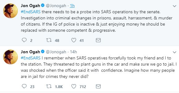 "Ogah EndSARS - ""SARS Threatened To Plant Guns In Our Car & Ensure We Go To Jail"" - BBN's Jon Ogah Joins #EndSARS Campaign."
