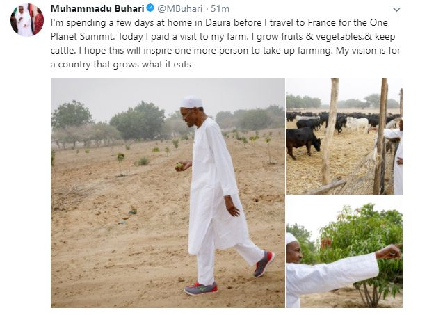 buharisne - President Buhari sets a new fashion trend by rocking a pair of sneakers on traditional outfit