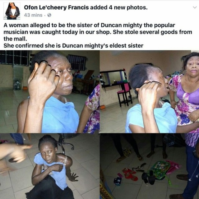 duncan - Woman who claims she is Duncan Mighty's sister, caught stealing at a mall in Port Harcourt