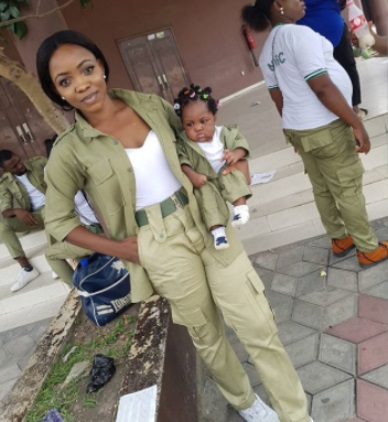 nysc 1 - Female NYSC Member Melt Hearts Online as She Poses with Her Little Daughter in Matching Uniforms (Photos)