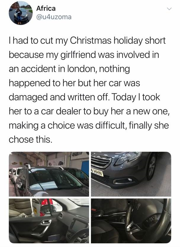 uk based nigerian man buys car for girlfriend after accident