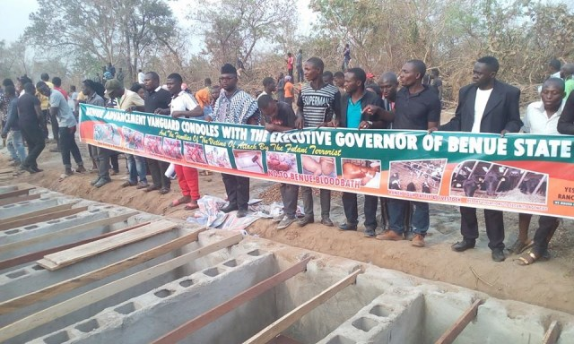 mass burial 0 - Photos from the mass burial for the 75 victims of the Fulani herdsmen attack in Benue