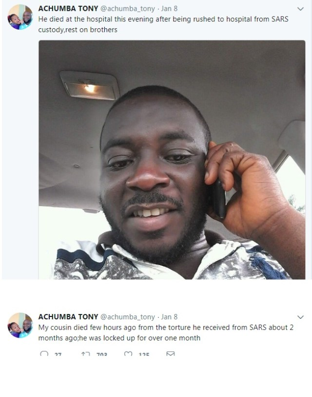 twt - Man reportedly dies after being rushed to the hospital from SARS office where he had been locked up for over a month (Photo)