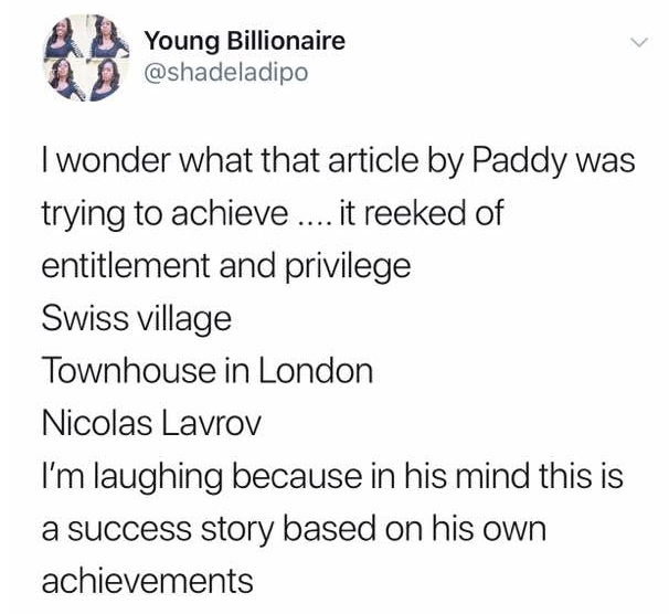 Shade Ladipo slams Paddy Adenuga
