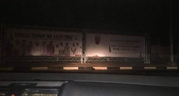Billboard welcoming Yusuf Buhari