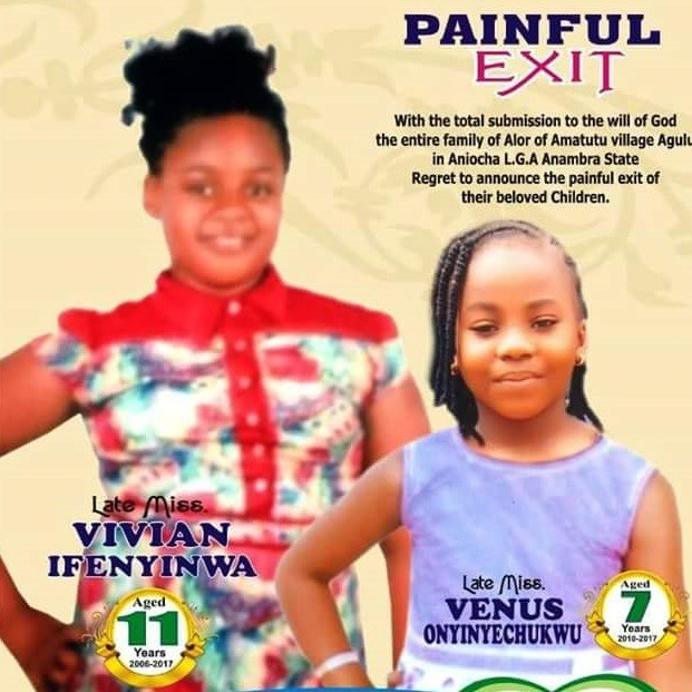 Two young sisters, killed by armed robbers to be buried today in Anambra