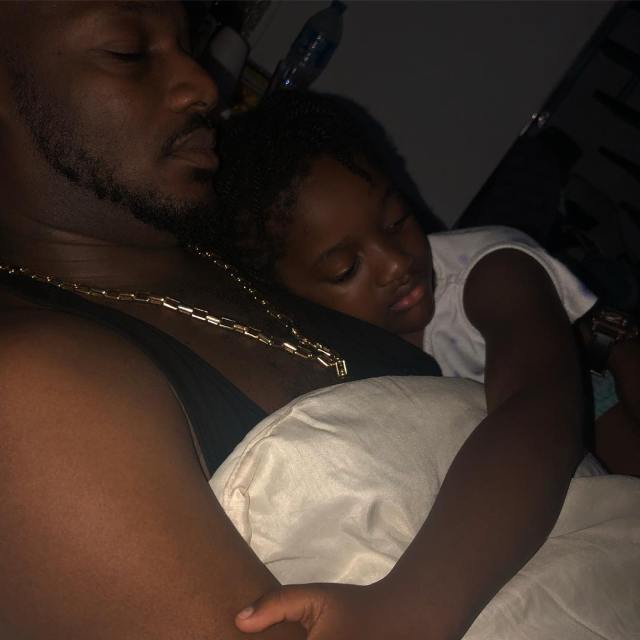 Annie Idibia shares adorable photo of her youngest daughter cuddling up with 2Baba