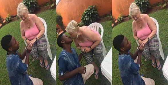 Young Nigerian man proposes to his older oyinbo lover (Photos)