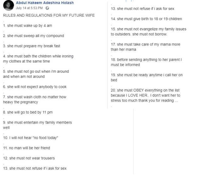 Nigerian man sets strict rules for his future wife (Photo)