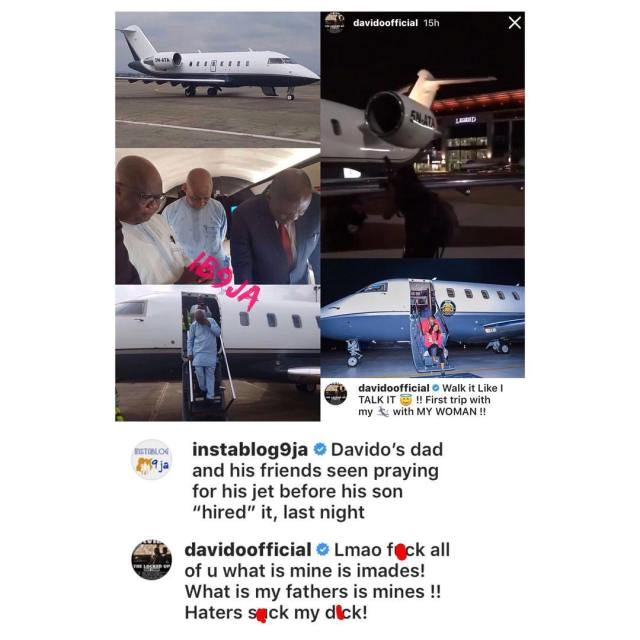 Davido admits private jet