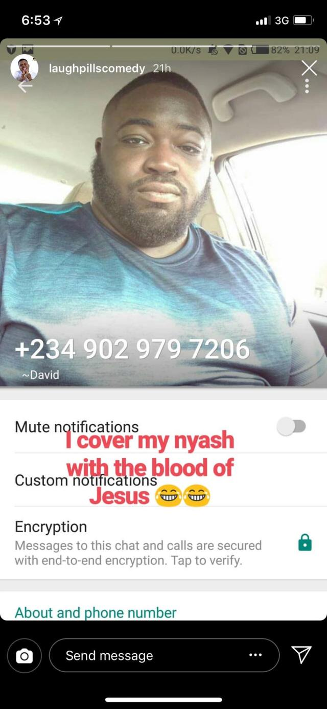 IG comedian, Laughpillscomedy shares screenshot of his chat with a Nigerian man who wants to have sex with him