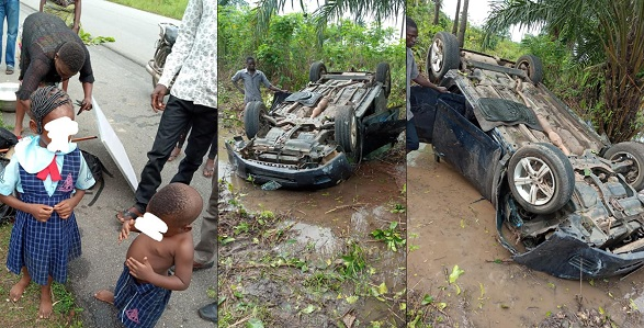 Image result for Car carrying school children somersaults into bush after being hit by a commercial bus (Photos)