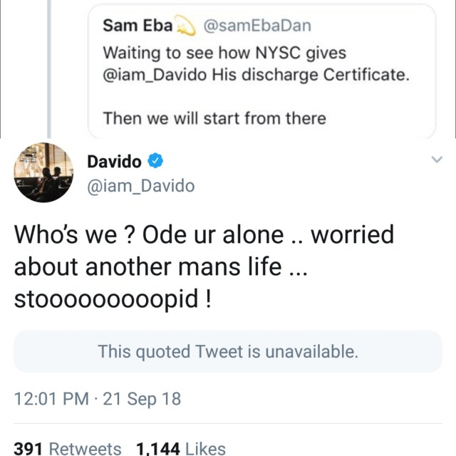 Davido slams Twitter user