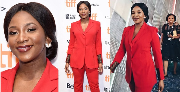 Image result for Genevieve Nnaji delectable in red at TIFF Lion Heart premiere
