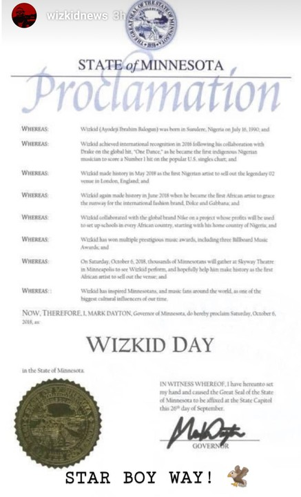 "7915431 screenshot201810071355232 jpeg6f08fd2337390d8920ef7a06d45ba4cb - US Governor, Mark Dayton Declares October 6 As ""WIZKID Day"