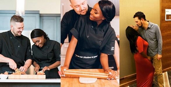 Image result for Lovely pre-wedding photos of a Nigerian chef and her white husband-to-be.
