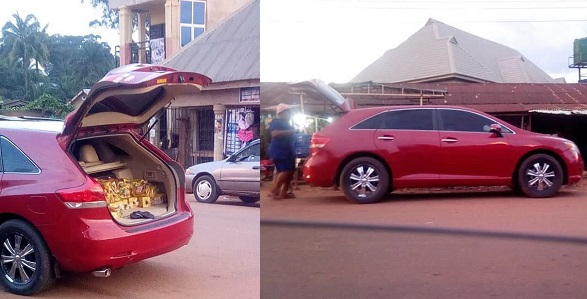 Image result for Expensive whip, Toyota Venza used in selling bread spotted in Anambra state