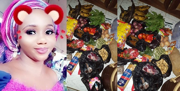 Image result for Wife material shows off the foodstuffs she bought with just N970