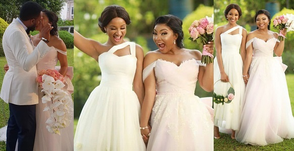 Image result for Adesua Etomi reveals why her best friend, Linda Ejiofor wore a pink wedding gown