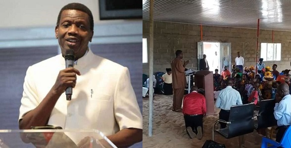 Image result for Pastor Adeboye pays surprise visit to a small church with uncompleted building, prays for members (PHOTOS + Video)