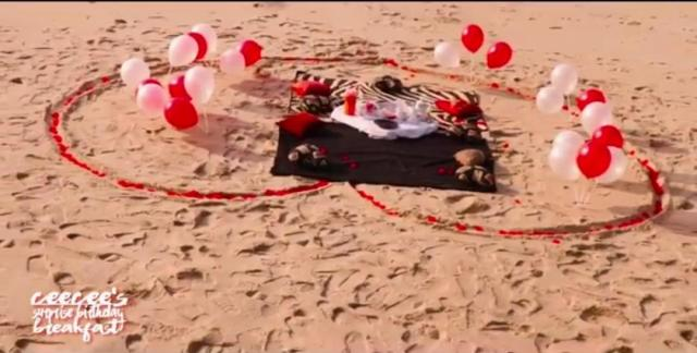 Former #BBNAIJA Leo Takes Cee-C To The Beach For Birthday Breakfast
