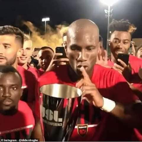 Didier Drogba Celebrates After Helping Club Win Championship (Video)