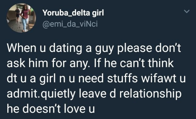 girl 1 - Stay Away From Men Who Don't Express Their Love Materially'- Nigerian Lady Says