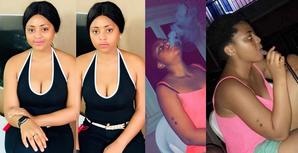 Image result for Regina Daniels shows off cleavage, caught smoking in new photos.