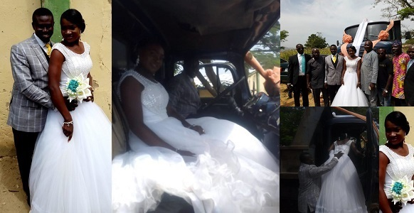 Image result for Truck driver gets married to his fiancée with his truck in Plateau (Photos)
