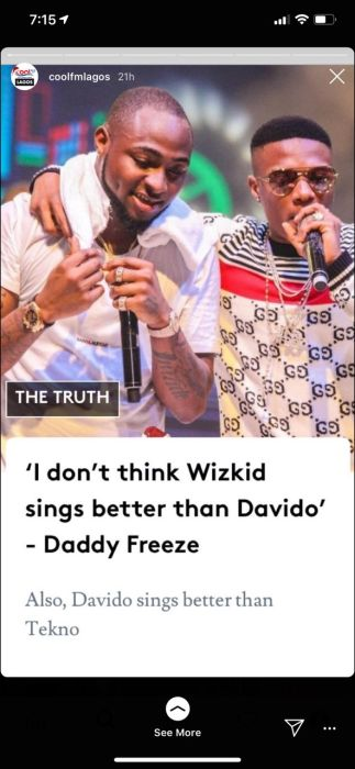 cool fm - Davido sings better than Wizkid and Tekno — Daddy Freeze