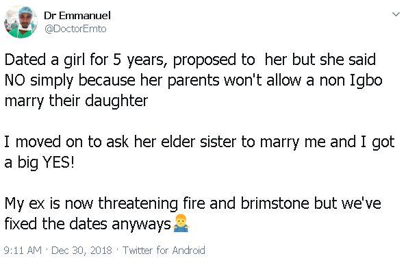 Nigerian Man set to wed senior sister of his ex-girlfriend