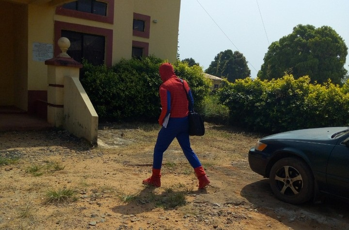 Watch: Lecturer disguises as Spiderman To Attend To Students due to ASUU strike