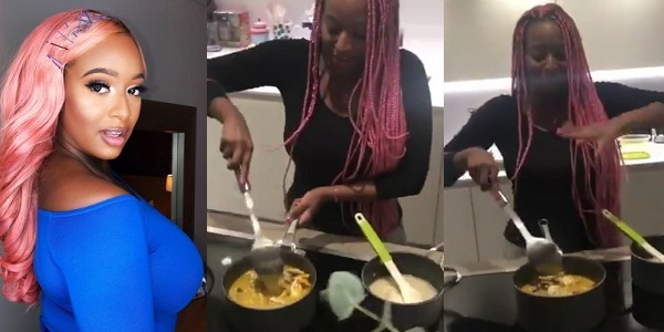 Watch DJ Cuppy cooks seafood soup and Eba, fans reacts