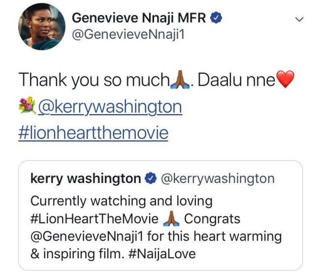 Keri Washington congratulates Genevieve Nnaji