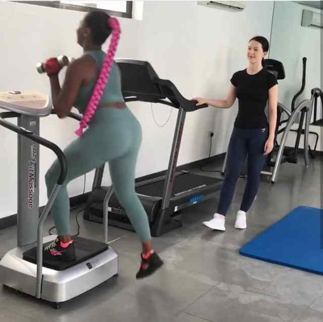 DJ Cuppy hits the gym after eating too much during Christmas season (Photos)