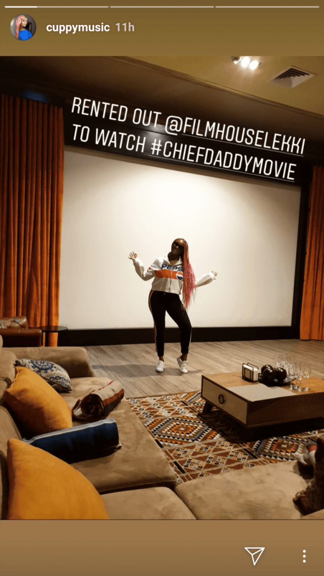 "DJ Cuppy rents out whole cinema to watch ""Chief Daddy"" movie with her friends"